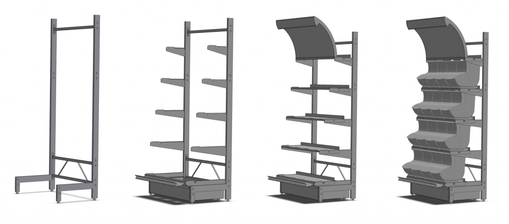Knockdown Gondola Display Explaination 1024x450 Knockdown Ställ (L stativ)   Akriform