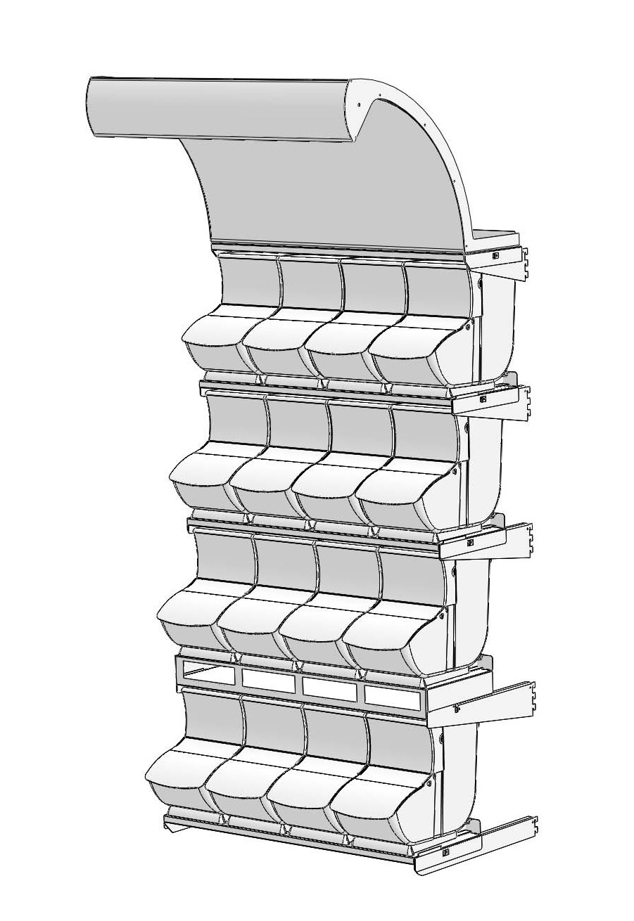 Knockdown Gondola Merchandising Display_ 4 Rows of Quickbox scoop bin