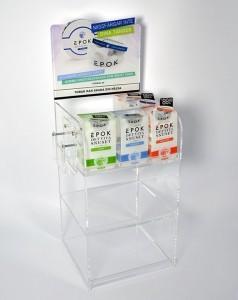 Specialtillverkat produktställ i plexiglas