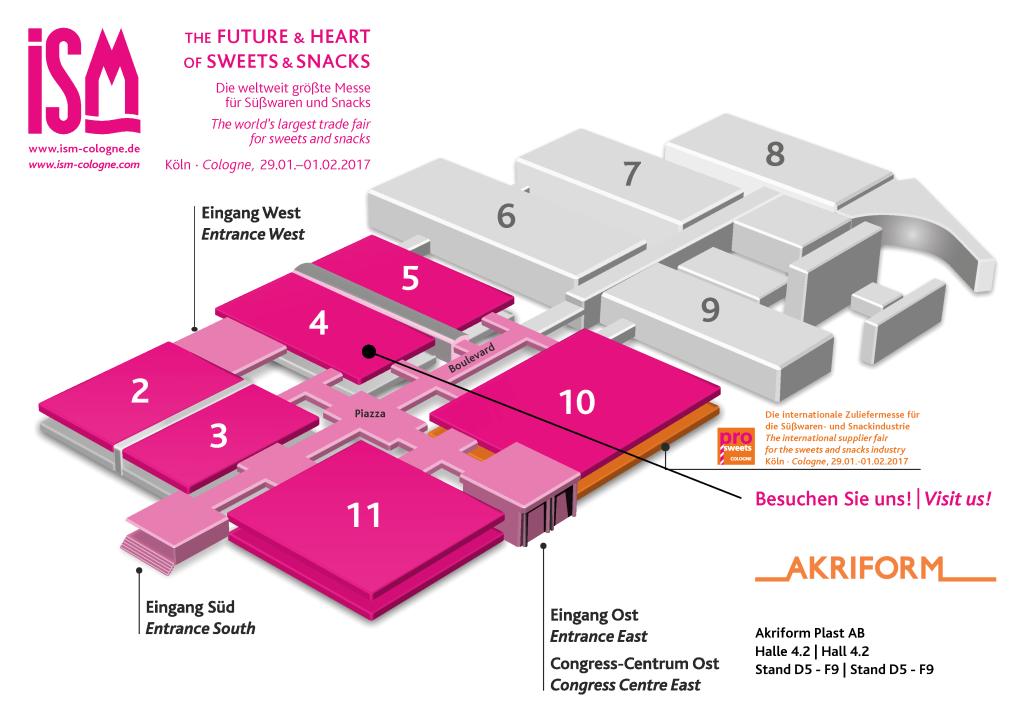 ISM Cologne 2017 hall plan