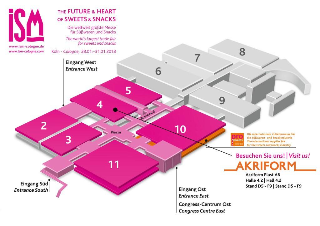 ISM Cologne 2018 hallplan