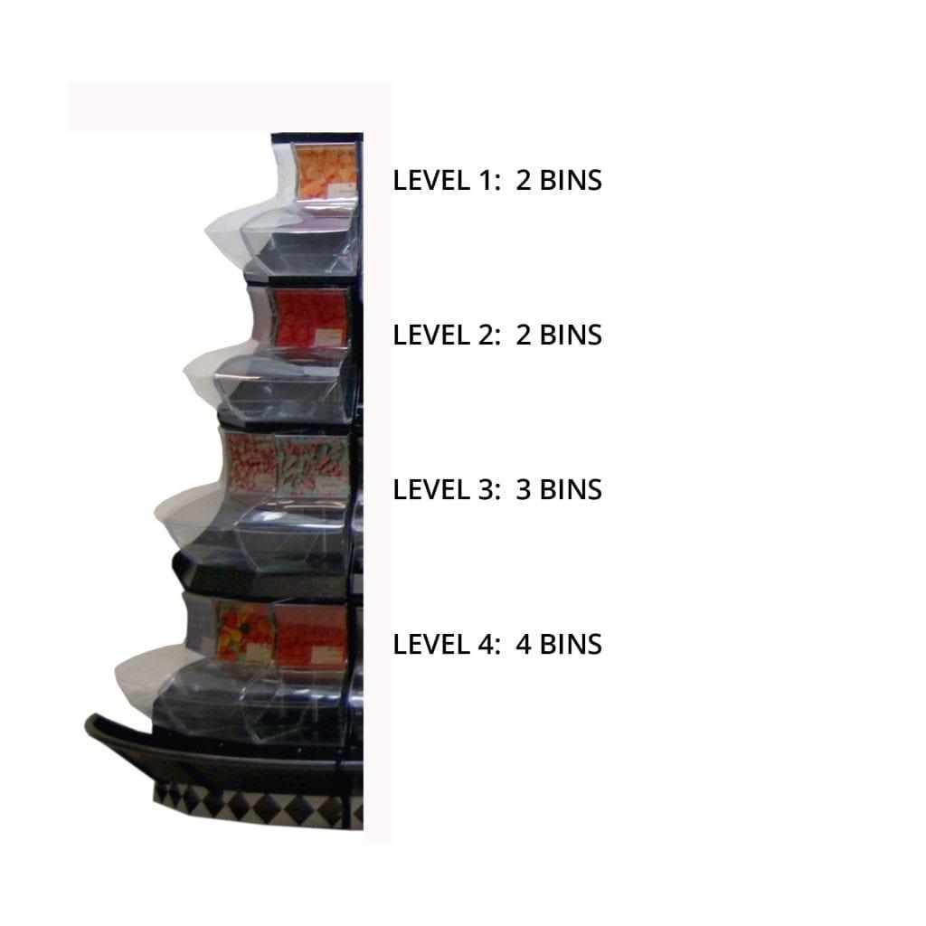 Glued corner bins in display
