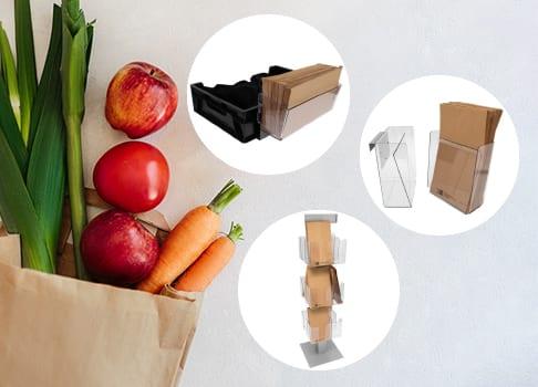 Papperspåshållare till frukt- och gröntavdelningen